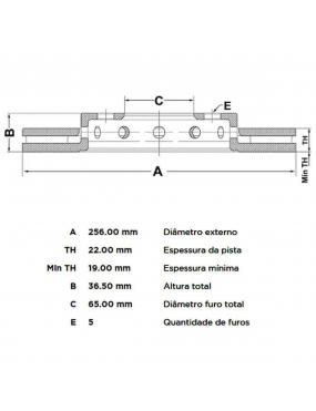 Par Disco Freio Dianteiro Ventilado Polo 1.6 2003 a 2015 Fremax
