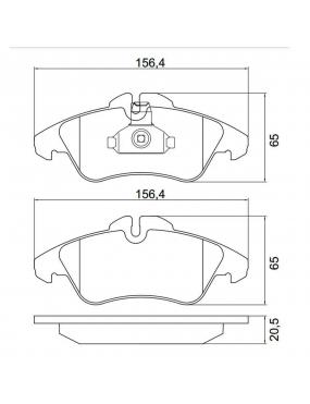 Jogo Pastilha de Freio Dianteira Sistema Teves Mercedes Benz Sprinter 310D   311CDI   313CDI   314CDI   316CDI