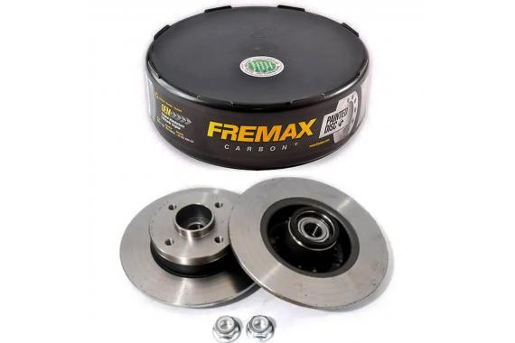 Par Disco Freio Traseiro com Cubo Rolamento Renault Megane 2006 a 2009 Fremax
