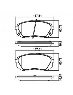 Kit Pastilha Freio Dianteira Hyundai IX35 2.0 16v 2011 a 2016 Kia Sportage 2.0 16v 2010 a 2016 Kasco Cobreq