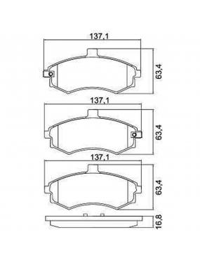 Kit Pastilha Freio Dianteira Hyundai Elantra 1996 a 2013 Kia Cerato 2006 a 2013 Akebono Cobreq