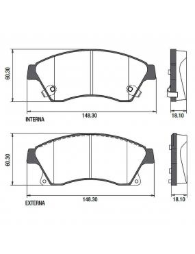 Kit Pastilha Freio Dianteira Chevrolet Cruze 1.8 2012 a 2014 Bosch Fras-le