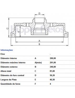 Par Tambor Freio Traseiro Com Cubo Volkswagen Gol G5 G6 2010 a 2016 Fremax
