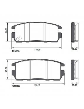 Kit Pastilha Freio Traseira Chevrolet Captiva 2008 a 2014 Akebono Ecopads